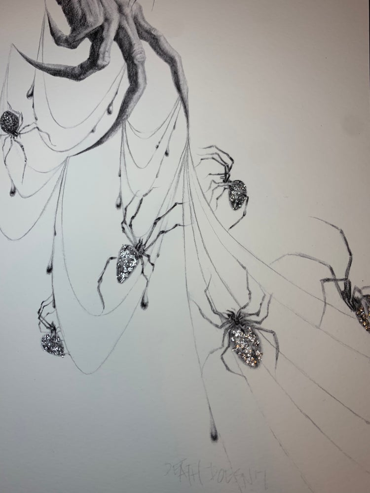 Image of Seven Silver Spiders Hand embellished print with graphite, glitter plus original spider sketch