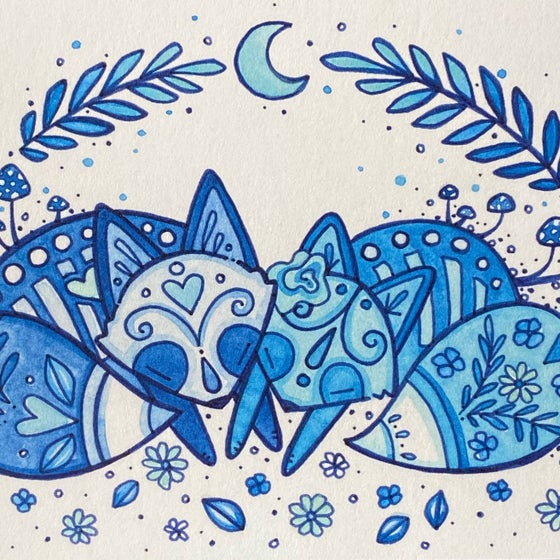 Image of Blue Moon Foxes - Print