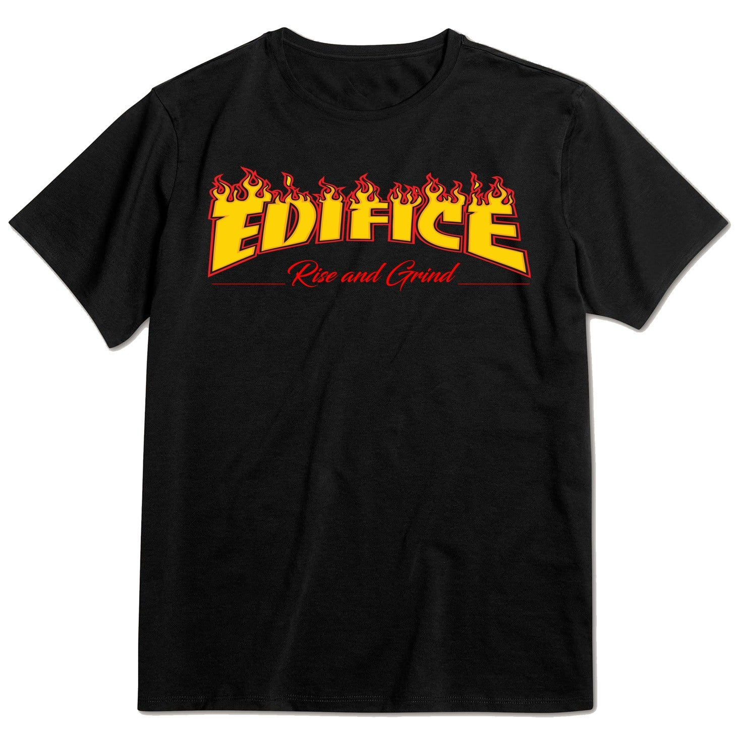 Image of EDIFICE RISE AND GRIND FIREMAN TEE 3 COLOR HAND PRINTED ON BLACK SHORT SLEEVE SM-XXL