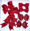 Set of 8 school bows clips or bobbles