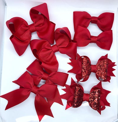 Image of Set of 8 school bows clips or bobbles