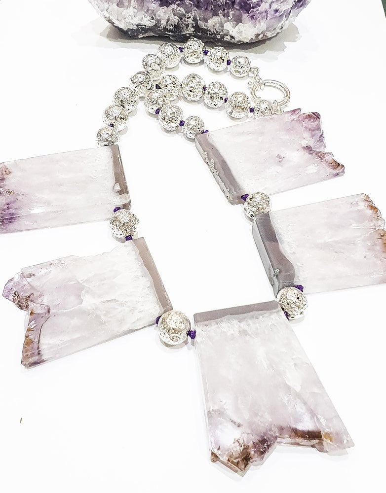 Image of 5 Amethyst Slice Necklace