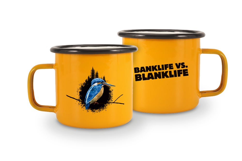 "Image of enamel mug ""banklife vs. blanklife"""