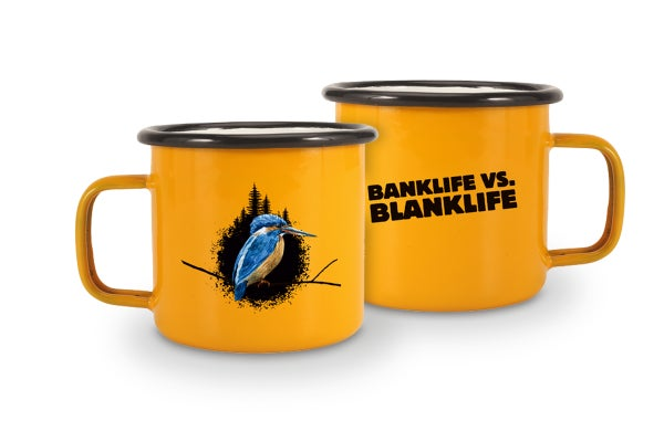 """Image of enamel mug """"banklife vs. blanklife"""""""