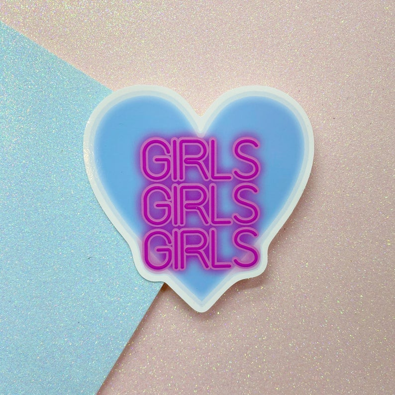 Image of Girls Girls Girls Neon Sign Style Large Vinyl Sticker