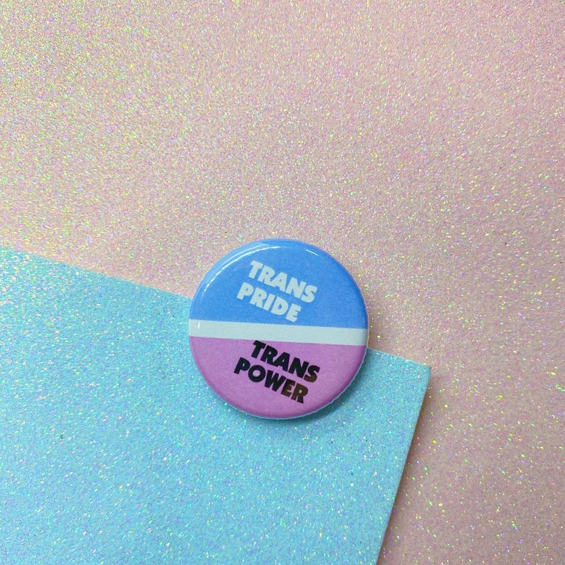 Image of Trans Pride Trans Power Button Badge