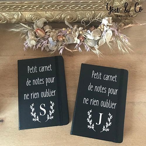 Image of Petit carnet de notes NOIR personnalisable
