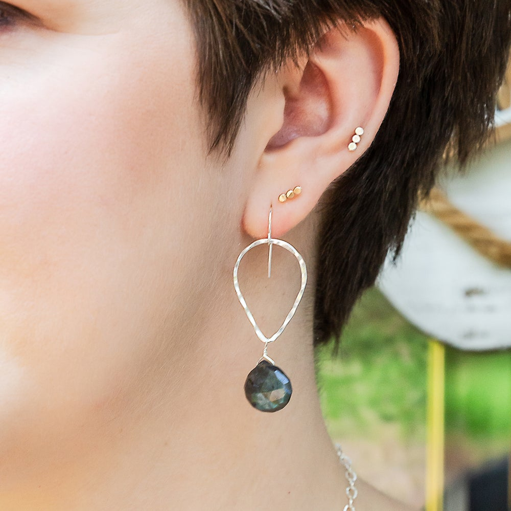 Image of Teardrop and Semi-Precious Stone Earrings - Sterling Silver