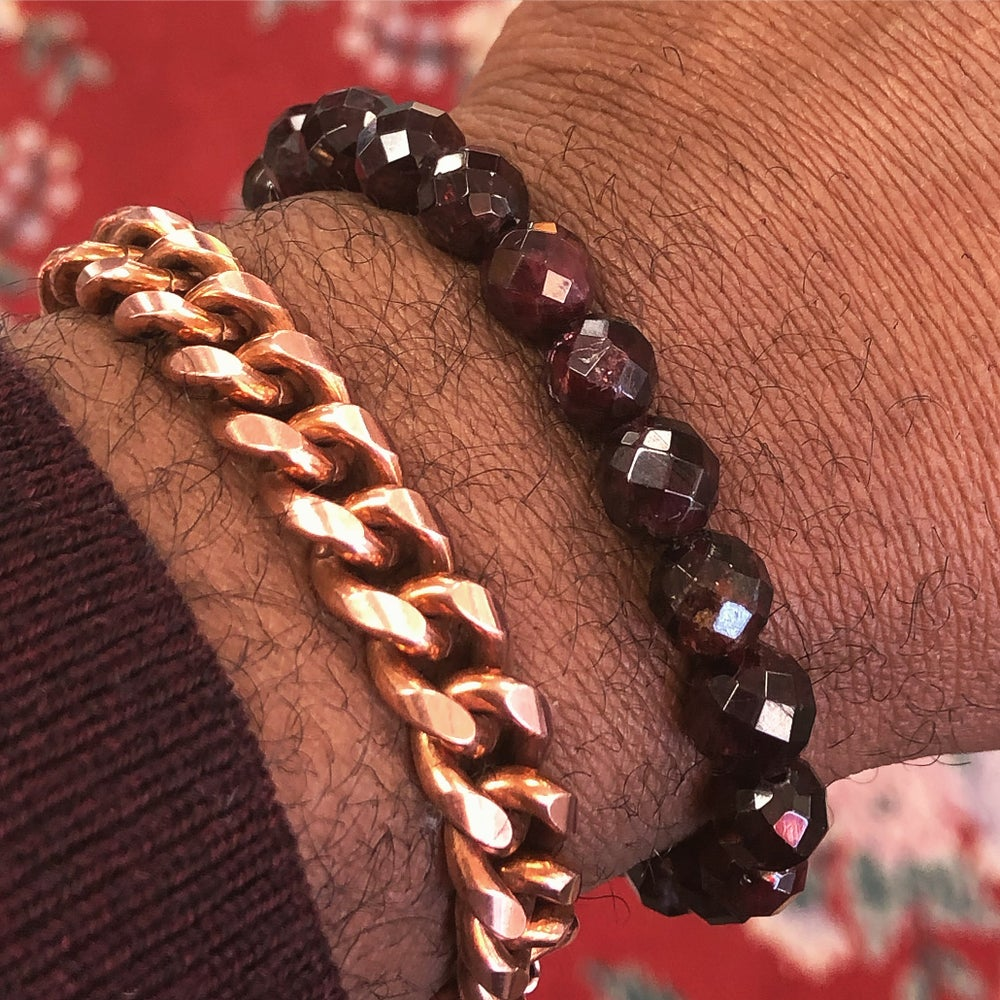 Image of Multifaceted Garnet Nugget Bracelet