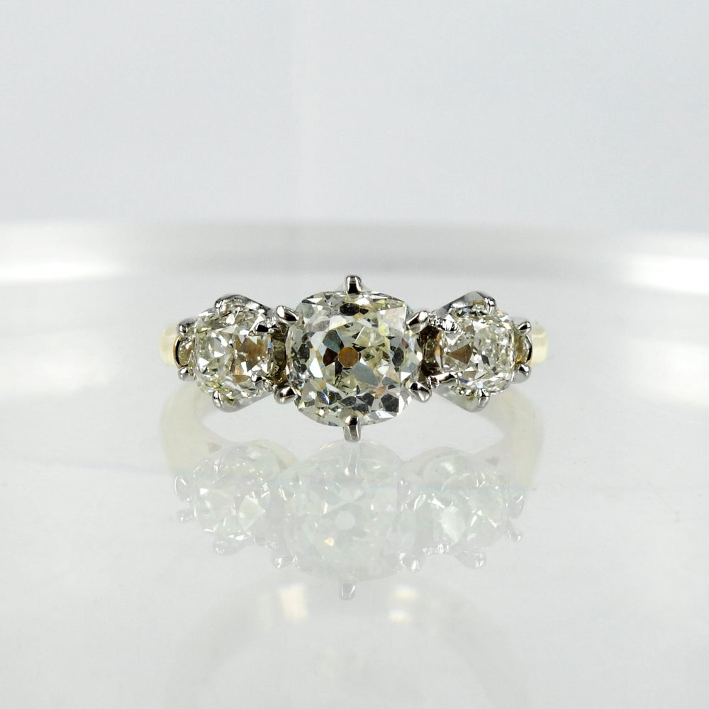Image of pj5723 Old cut diamond trilogy ring.