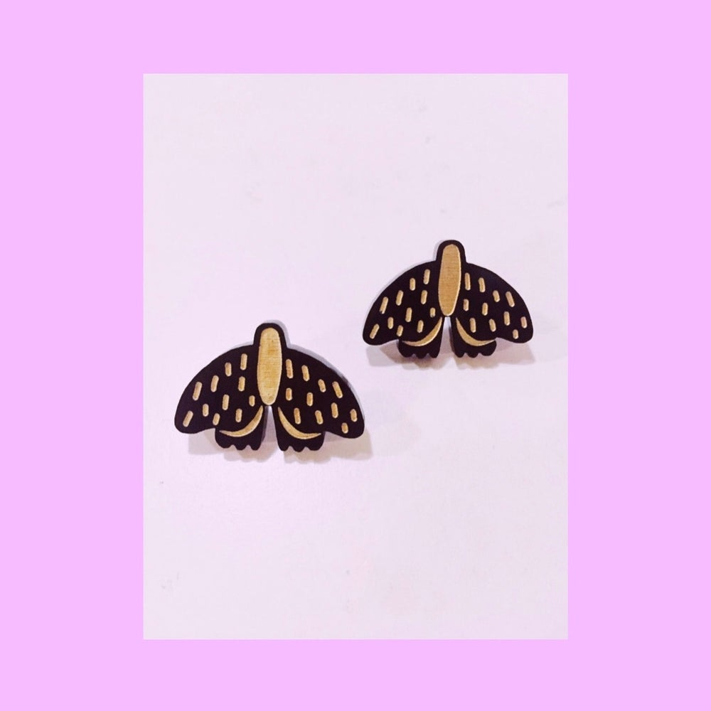Image of Forest Moth Mini Studs (Black/Gold)