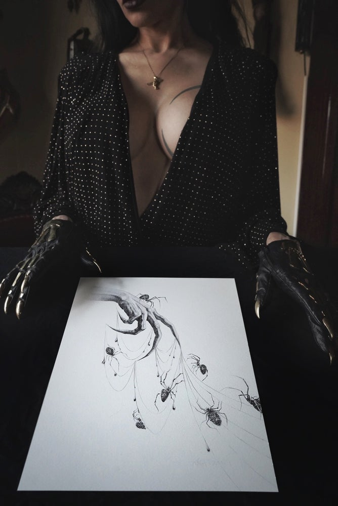 """Image of Seven Silver Spiders 8 x 10"""" giclée print open edition"""