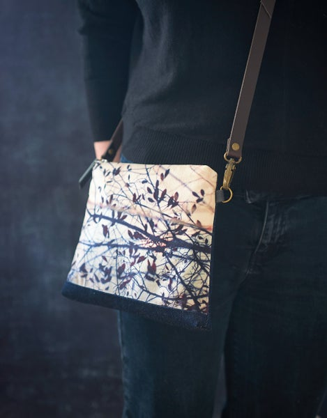 Image of Leaf, velvet shoulder bag with crossbody leather strap