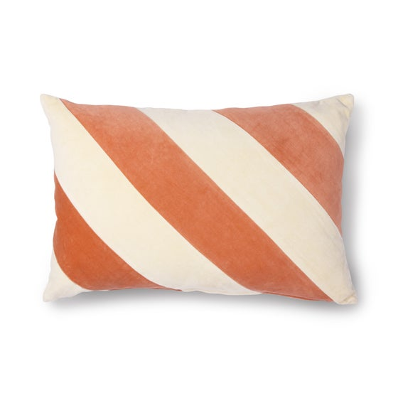 Image of Orange and cream striped velvet cushion