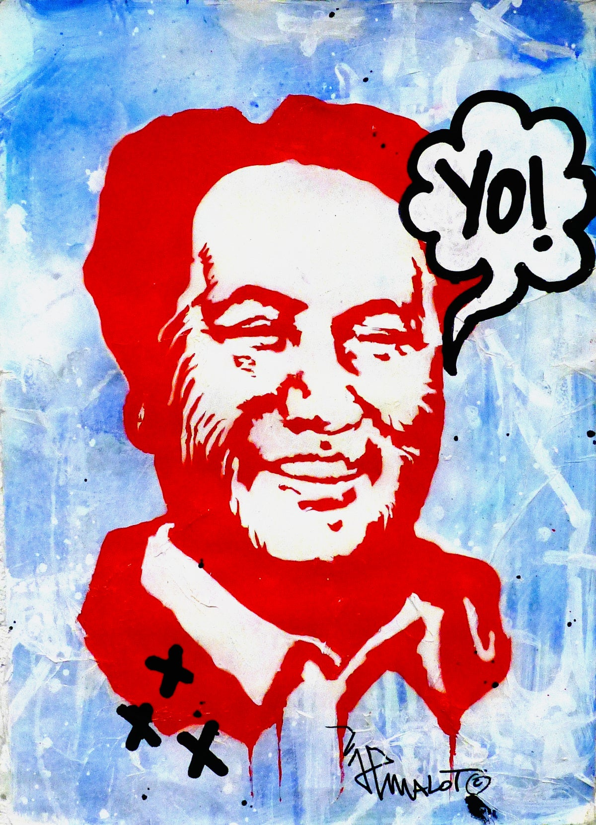 Image of 'YO! Mao, on blue'.