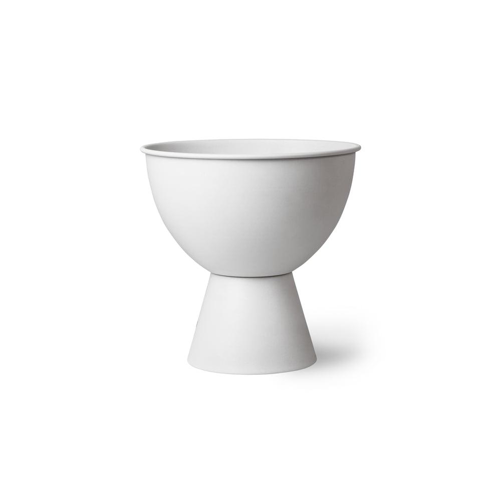 Image of White metal flower pot medium