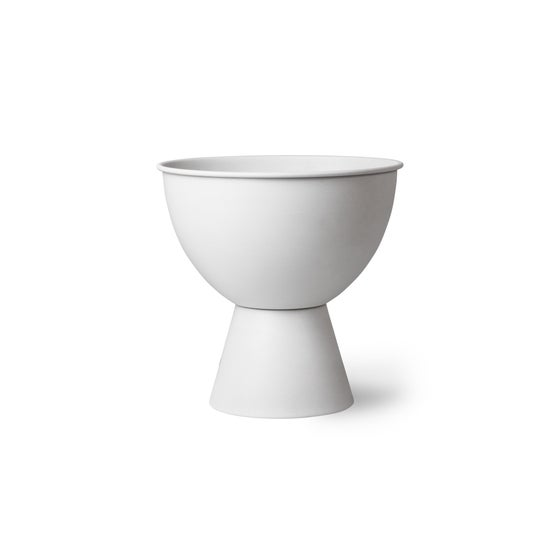 Image of White metal flower pot medium