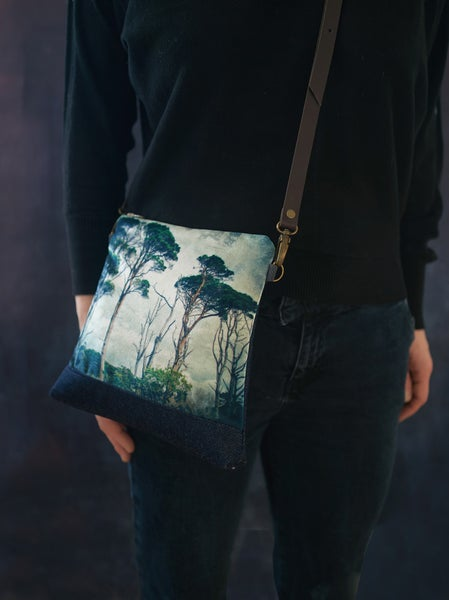 Image of Scots pines, velvet shoulder bag with crossbody leather strap