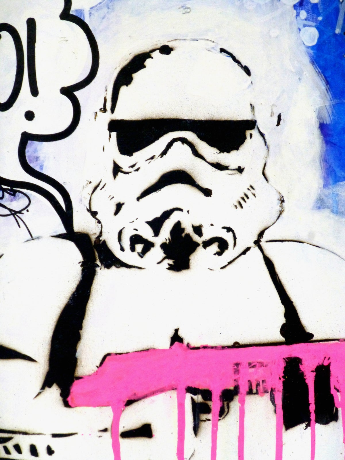 Image of YO! Stormtrooper, on blue.