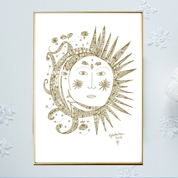 Image of Gold * Sun & Moon*_A3