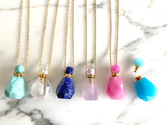 Image of Essential Oil Decanter Gemstone Necklace