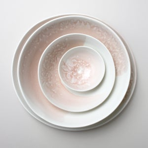 Image of rose fizz set of four serving pieces