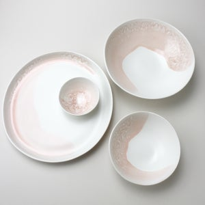 Image of rose watercolor set of four serving pieces