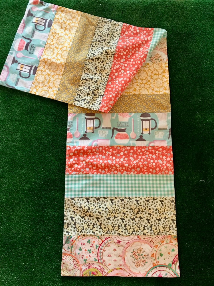 Image of Pieced Table Runner, Colors are Dark Coral, Light Aqua, Gray and Gold, 16X80 inches