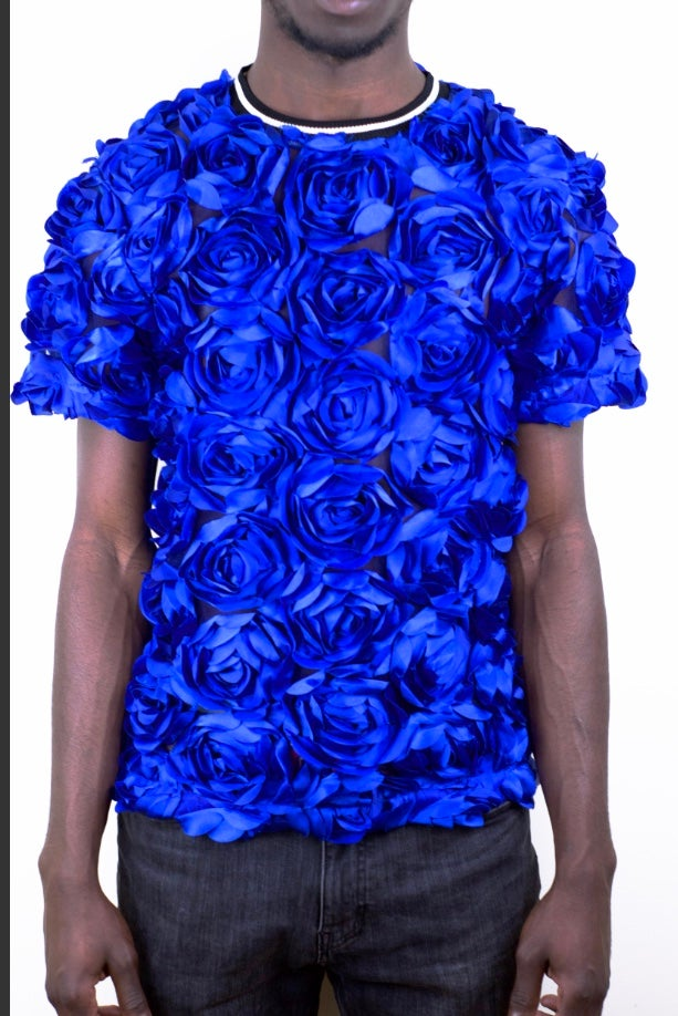 Image of Royal Blue Rose T-shirt