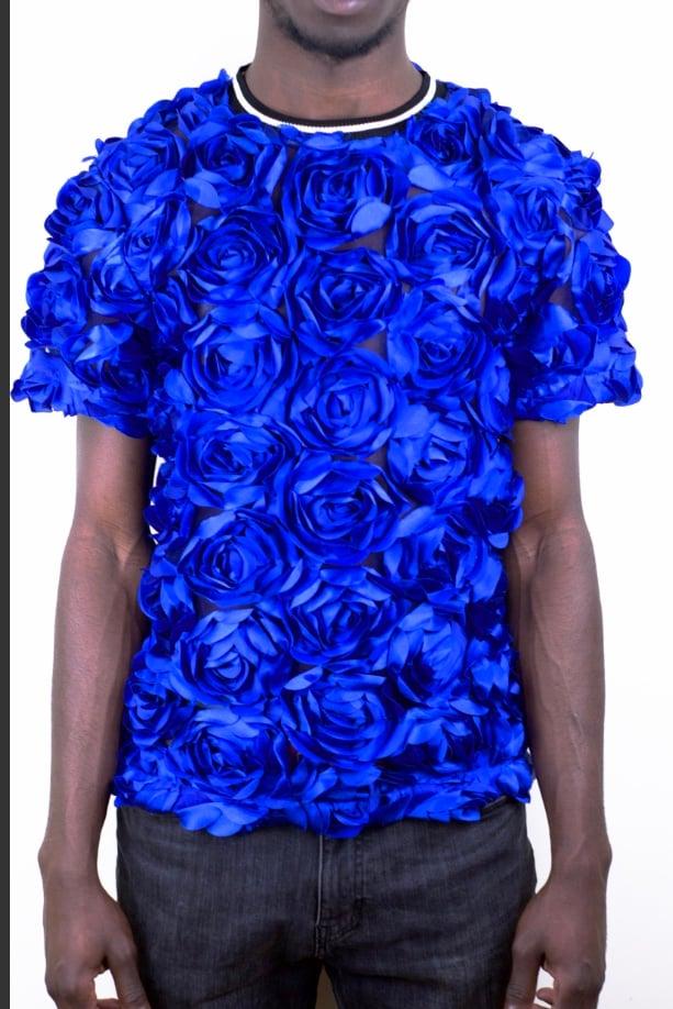Image of Royal Blue Rose T-shirt