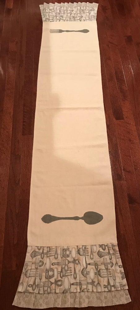Image of Hand Stenciled Fork and Spoon Table Runner, 15.5X80 inches