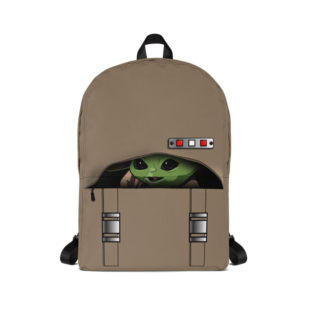Image of Baby Yoda Peeking Backpack