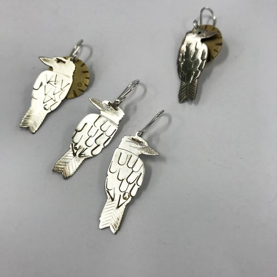 Image of BIRD EARRING: KOOKABURRA  (STERLING SILVER, HAND CUT)