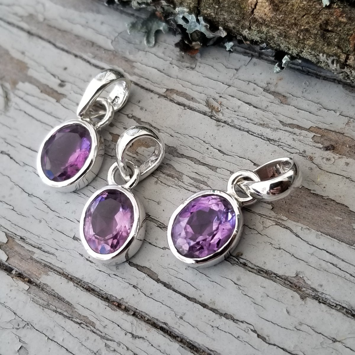 Image of Classic Faceted Pendants - Amethyst in Sterling