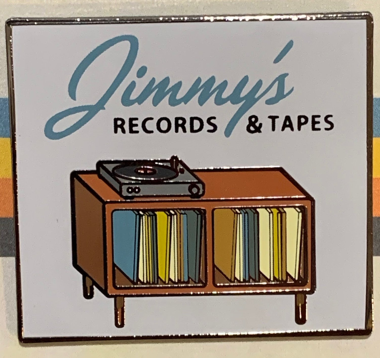 Image of ENAMEL PIN : Jimmy's Records & Tapes - Show Logo