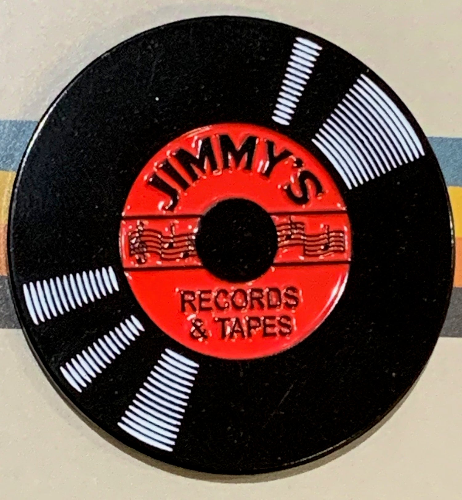 Image of ENAMEL PIN : Jimmy's Records & Tapes - Album
