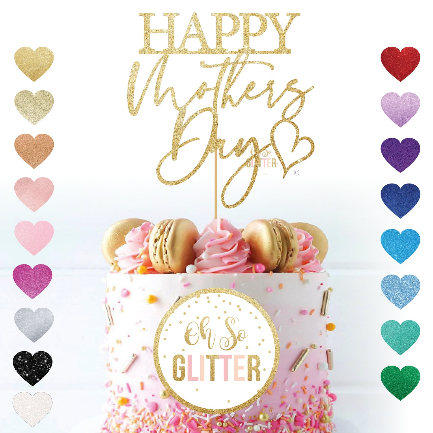 Image of Happy Mothers Day (script) Cake Topper