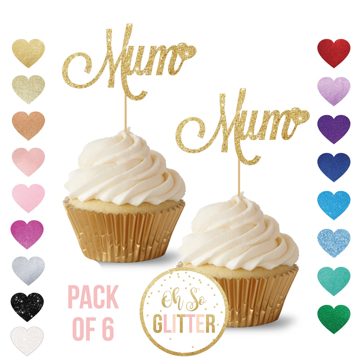 Image of Mum Cupcake Toppers - pack of 6 - Mothers Day
