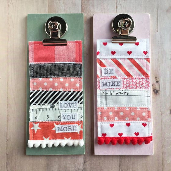 """Image of """"Valentine's Day"""" Wood Clipboard with Quilted Decor"""