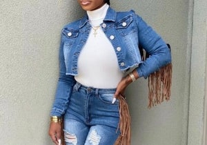 Image of Denim Tassle Jacket