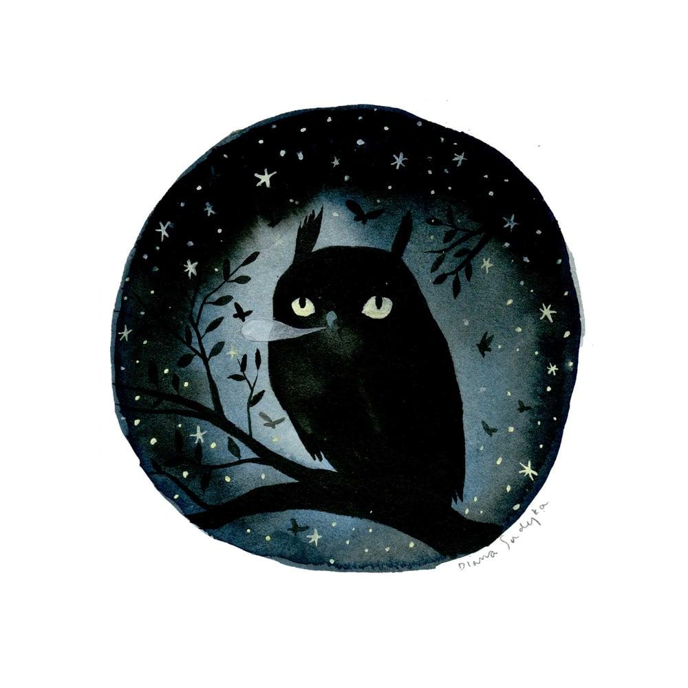 Image of Night Owl - 9 x 9 inch Glow-in-the-Dark Archival Inkjet (Giclée) Print.