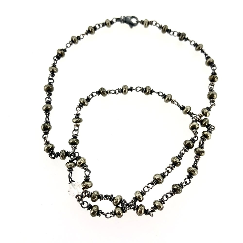 Image of Pyrite and herkimer diamond necklace