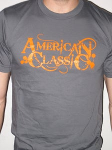 Image of AMERICAN CLASSIC T (GRAY) ORANGE FONT