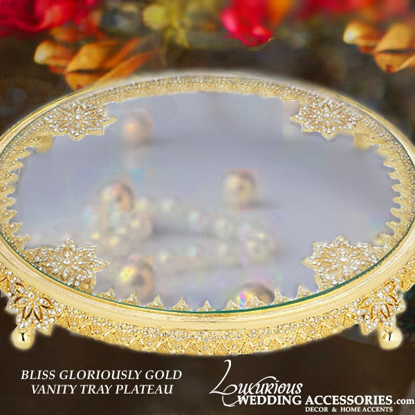 Image of Bliss Glorious Gold Round Vanity Tray Plateau