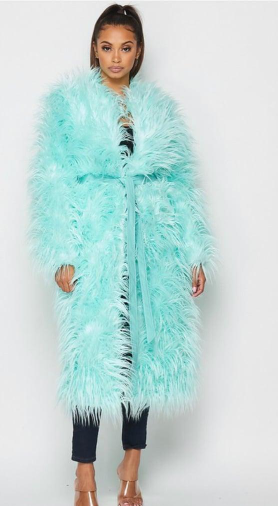 Image of Turquoise Furry Coat