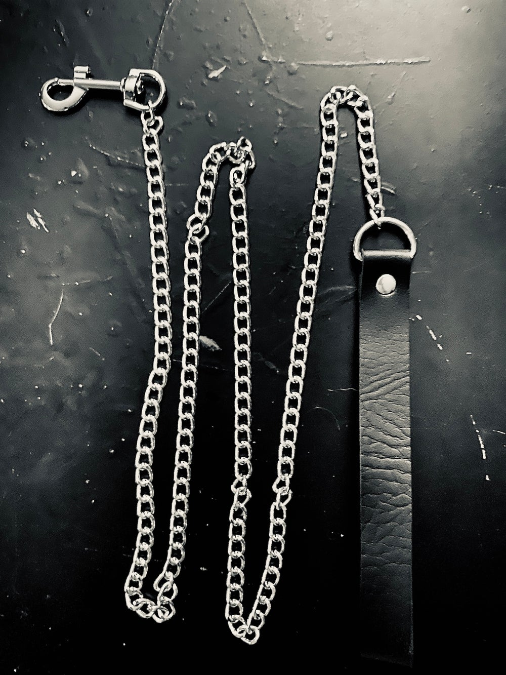 Chain Leash w/Faux Leather Handle