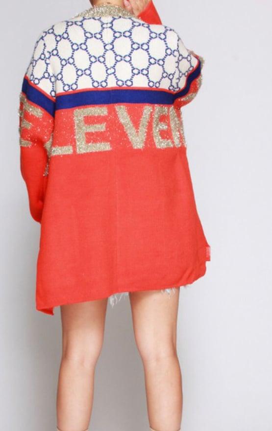 Image of Orange GG Inspired Sweater Cardigan
