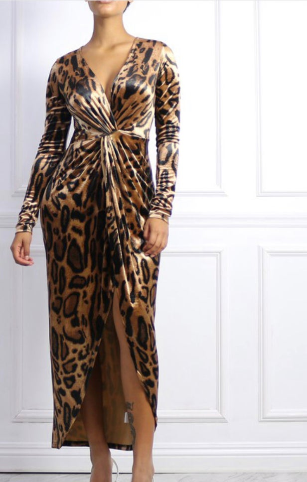 Image of Leopard print maxi with front slit