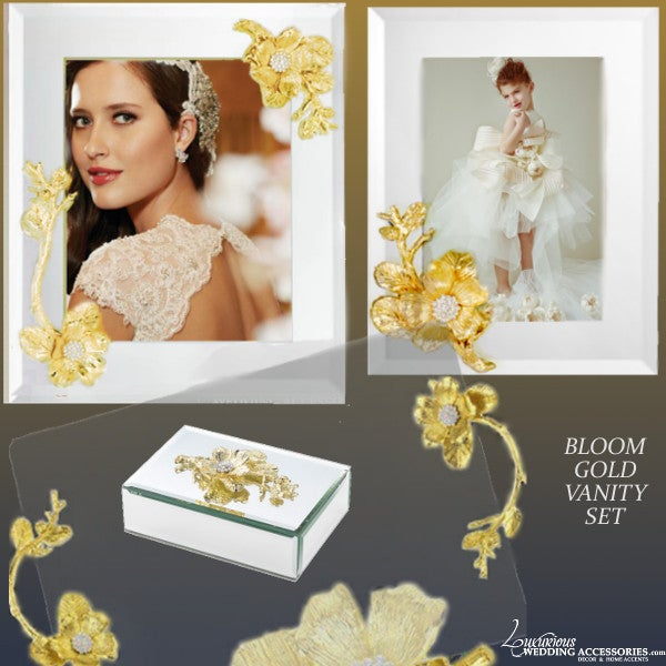 Image of  Bloom Gold Vanity Tray, Jewelry Box and Mirrored Picture Frame Set
