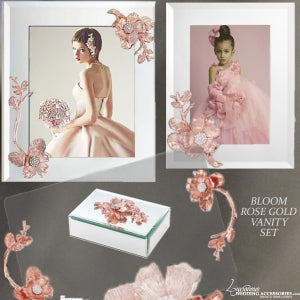 Image of Bloom Rose Pink Mirrored Vanity Set